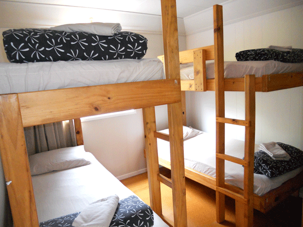 Large cabin bedroom with bunks