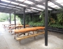 Covered seating area outside the communal kitchen